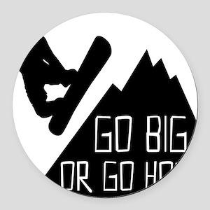 Snowboarder Go Big Round Car Magnet