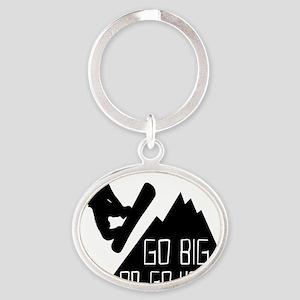 Snowboarder Go Big Oval Keychain