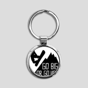 Snowboarder Go Big Round Keychain