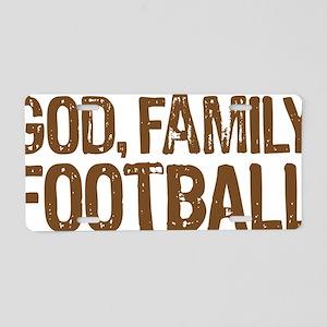 God Family Football Aluminum License Plate