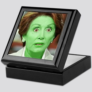 Pelosi GREEN and your little dog too  Keepsake Box