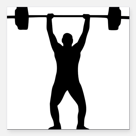 """weightlifter Square Car Magnet 3"""" x 3"""""""
