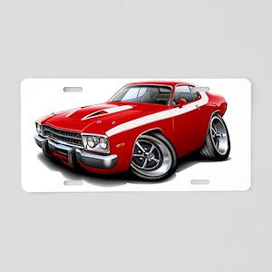 1973-74 Roadrunner Red-Whit Aluminum License Plate