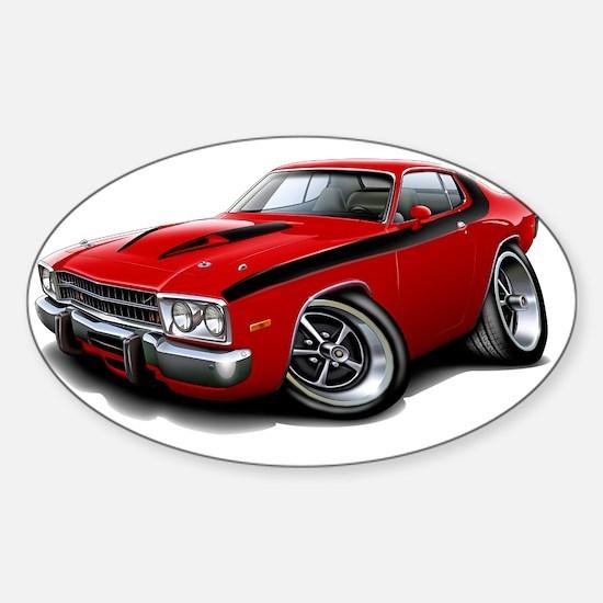 1973-74 Roadrunner Red-Black Car Sticker (Oval)