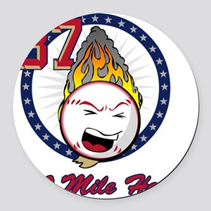 flaming_baseball_k Round Car Magnet