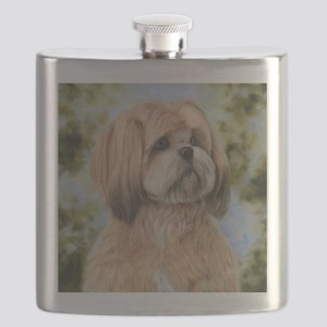 Lhasa Apso by Dawn Secord Flask