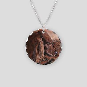 Irish Setter Sleeping Necklace Circle Charm