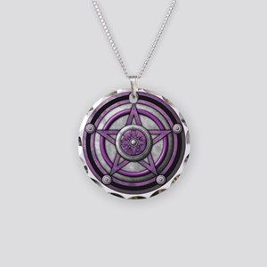 Purple Pentacle with silver Necklace Circle Charm