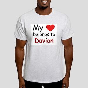 My heart belongs to davion Ash Grey T-Shirt