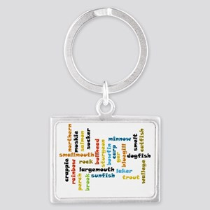 Freshwater Fish Colored Ltrs Landscape Keychain