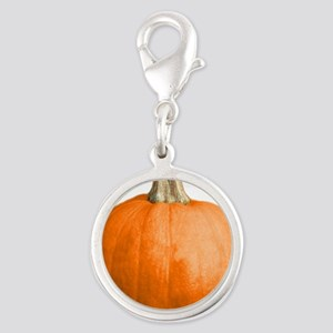 pumpkin Silver Round Charm