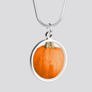 pumpkin Silver Round Necklace