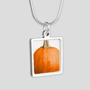 pumpkin Silver Square Necklace