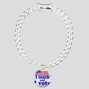I Teach and I Vote Charm Bracelet, One Charm