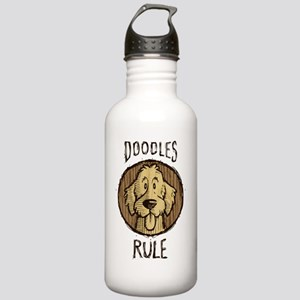 Doodles-Rule-Wood-Scri Stainless Water Bottle 1.0L