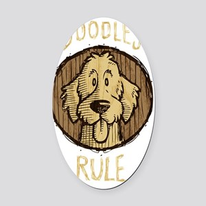 2-Doodles-Rule-Wood-Scribble-dark Oval Car Magnet