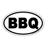 Bar-B-Que BBQ Euro Oval Sticker