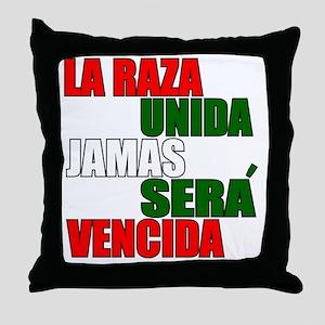 LA RAZA UNIDA JAMAS WHT Throw Pillow