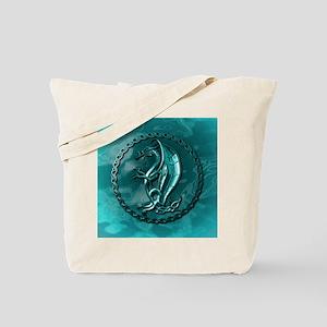 BlueCelticDragonRound Tote Bag