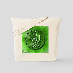 GreenCelticDragonRound Tote Bag