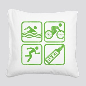swimbikerunBeer Square Canvas Pillow