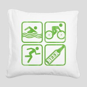 swimbikerunBeer Square Canvas Pillow