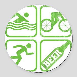 swimbikerunBeer Round Car Magnet