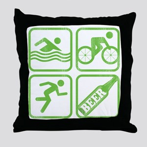 swimbikerunBeer Throw Pillow