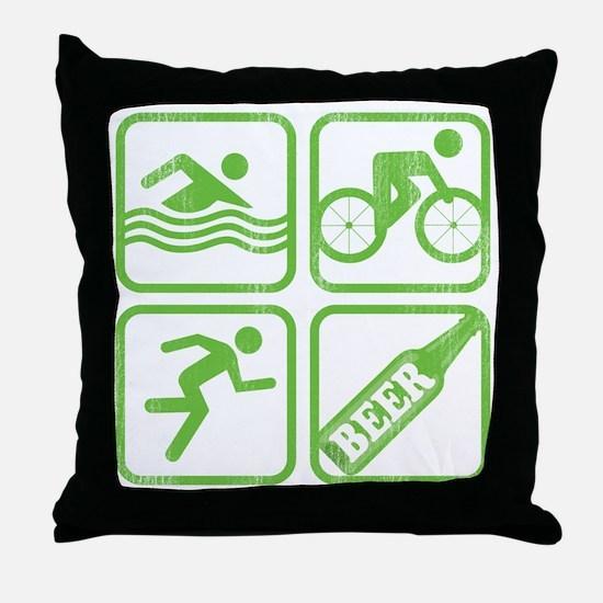 swimbikerunBeer Throw Pillow