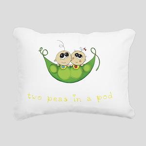 Twin Boy Girl Two Peas Rectangular Canvas Pillow