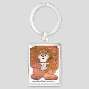5-lion and lamb square Portrait Keychain