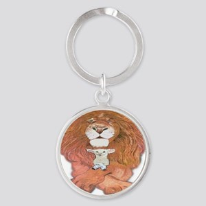 5-lion and lamb square Round Keychain
