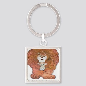 5-lion and lamb square Square Keychain