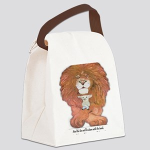 5-lion and lamb square Canvas Lunch Bag