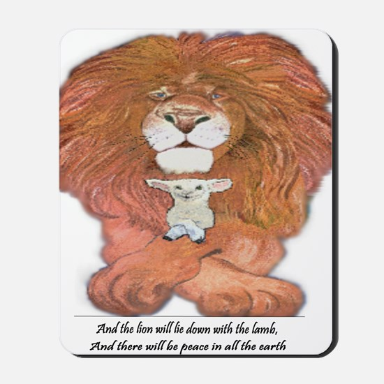 5-lion and lamb square Mousepad