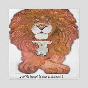 5-lion and lamb square Queen Duvet