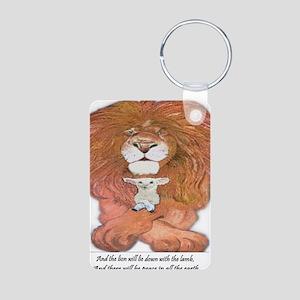 5-lion and lamb square Aluminum Photo Keychain