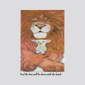 5-lion and lamb square Rectangle Magnet