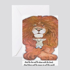 5-lion and lamb square Greeting Card