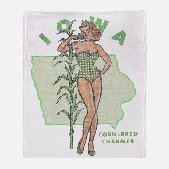 Faded Iowa Pinup Throw Blanket