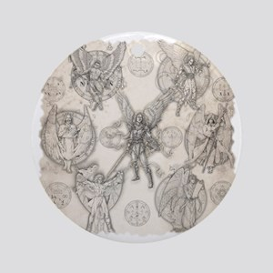 7Angels10x10BlkT Round Ornament