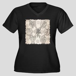7Angels10x10 Women's Plus Size Dark V-Neck T-Shirt