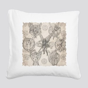 7Angels10x10BlkT Square Canvas Pillow