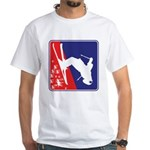 A Snow Skier in Red White and Blue White T-Shirt