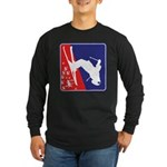 A Snow Skier in Red White Long Sleeve Dark T-Shirt