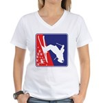 A Snow Skier in Red White a Women's V-Neck T-Shirt