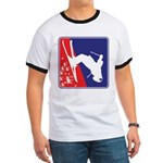 A Snow Skier in Red White and Blue Ringer T