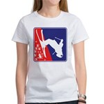 A Snow Skier in Red Women's Classic White T-Shirt