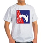 A Snow Skier in Red White and Blue Light T-Shirt