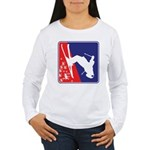 A Snow Skier in Red Wh Women's Long Sleeve T-Shirt
